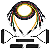 [Stretch Bands] Exercise Resistance Bands Set, TopElek Fitness Resistance Bands Set with 5 Fitness Tubes/Handles/Door Anchor/Ankle Straps/Carrying Pouch/Workout Guides, Best for Men, Women and the elders