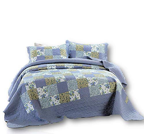 Dada Betten Blueberry Patch Wende Patchwork Plaid Tagesdecke, Quilt Set - Floral Blue Print, Polyester-Mischgewebe, Blue, Navy, Light Blue, White, California King - Quilt California King Navy
