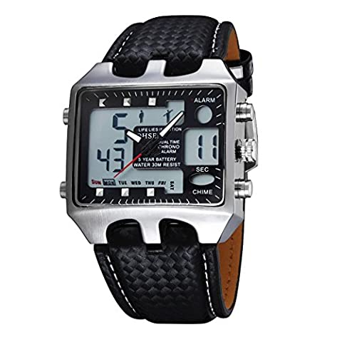 UNIQUEBELLA Diamond Pattern PU Leather Strap Wrist Watch, LCD digital Black Dial Date Hours Minutes Double Movement stopwatch and alarm Bracelet