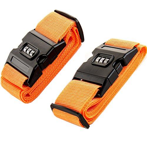 Amazing Tour - Paquete de 2 cinturones de seguridad para maletas, con clip de bloqueo de contraseña, Orange P2