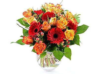 Blumenversand - Blumenstrauß - zum Geburtstag - Orange Fire! mit 15 rot-orangen Rosen - mit Gratis - Grußkarte zum Wunschtermin versenden von Der Renner - Blumenversand - Du und dein Garten