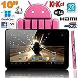Tablette tactile 10 pouces Android 4.4 KitKat Quad Core 40 Go Rose