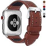 Fullmosa Compatible avec Bracelet Apple Watch 38mm(40mm Serie4) en Cuir Véritable, 7 Couleurs pour Bracelet Apple Watch/iwatch Series 4,3,2,1 avec Métal Fermoir, Brun 38mm/40mm