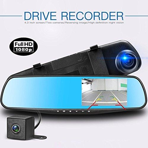 """Lychee Full DH 1080P 4.3"""" TFT, cámara de visión trasera con lente de 170 grados de ángulo amplio, visión nocturna, compatible con 32 GB, detección de movimiento, sensor G, vehículo Blackbox DVR"""