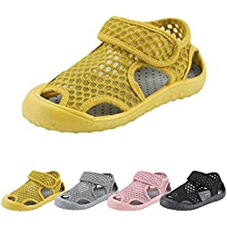 Qimaoo Chaussures de Plage Bébé Enfant Fille Garçon,Eté Sandales Bout Fermé en Maille Mixte Enfants, Jaune, EU28=170mm=CN18