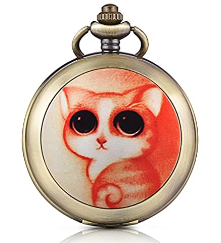 Infinite U Cute Cat/Kitty Skeleton Mechanical Pocket Watch Photo Locket Pendant Hand Wind Roman Numerals White Dial Fob/Long Chain Sweater Necklace