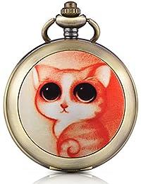 Infinite U Gato/Kitty esqueleto mecánico reloj de bolsillo medallón colgante foto mano viento números romanos esfera blanca llavero/collar largo cadena suéter