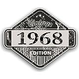 Distressed envejecido Vintage 1968Edition Classic Retro vinilo coche moto Cafe Racer Casco Adhesivo Insignia 85x 70mm