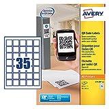 Avery Dennison L7120-25 QR-Code-Etiketten, quadratisch, blickdicht, Weiß, 20 Etiketten pro Blatt, 500 Etiketten 35 x 35 mm