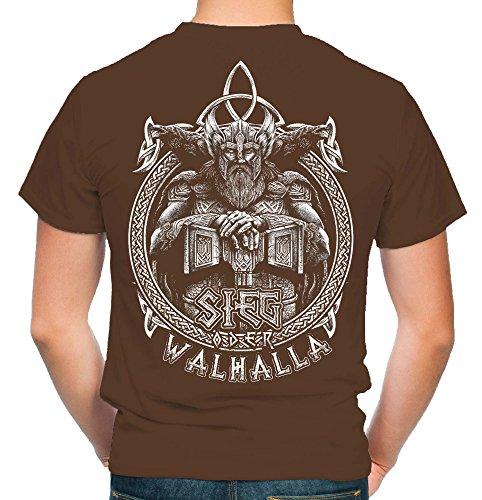 Sieg oder Walhalla Männer und Herren T-Shirt   Odin Wikinger Valhalla Geschenk   M1 Fb (L, Braun) (Valhalla Wand)