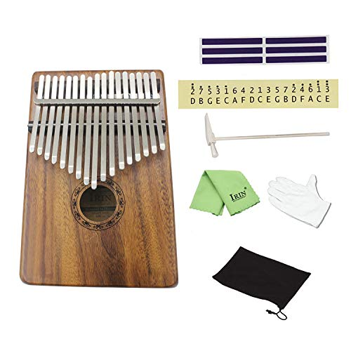 brown,Natürliche 17 Tasten Finger Daumentasche Klavier Kalimba Mbira Daumen Klavier großes Geschenk (Farbe: braun)