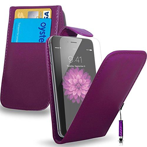 Apple iPhone 6S - Leder-Schlag-Fall-Abdeckungs-Beutel + Mini Stylus Pen + Screen Protector & Poliertuch (schwarz) Dark Purple