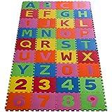 casa pura® ABC Puzzlematte Candy   schadstofffrei   Spielmatte aus 36 Puzzlequadraten mit insg. 86 Teilen   hautfreundlicher EVA-Schaumstoff