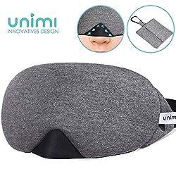 Unimi Baumwolle Schlafmaske Damen und Herren, 2019 neue Design Premium Augenmaske Nachtmaske,100% Lichtschutz, super weich und bequem, Augenschutz für Reisen, Schichtarbeit und Nickerchen