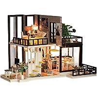 YeahiBaby casa de muñecas pequeño con música y Polvo Casa de muñecas Miniatura de DIY para niños