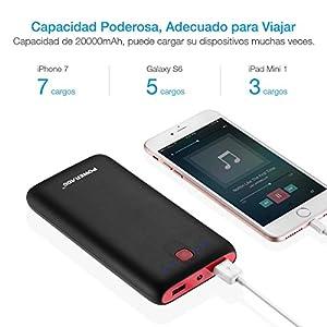 [Versión Mejorada] Poweradd Pilot X7 20000mAh Cargador Móvil Portátil Batería Externa Power Bank para iPhone iPad(Cable de Apple no Incluido) Dispositivos de Samsung y Más Reciente iPhone7 Color-Negro y Rojo