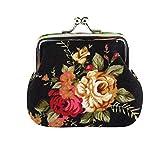 PowerFul-LOT Sac à main pour femme,Femmes dame rétro fleur vintage petit portefeuille sac à main sac à main (Noir)
