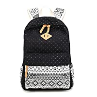 LATEC Casual Canvas Backpack Daypack Travel Shoulder Bag School Satchel for Teenage Girls Boys