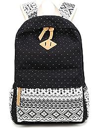 LaTEC Mochila de lona casual, mochila de viaje, mochila escolar para chicas (Negro)