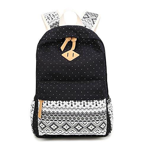 LaTEC Beiläufiger Segeltuch-Rucksack Daypack Spielraum-Schulter-Beutel-Schule-Schultasche für Teenager-Mädchen-Jungen (Schwarz)