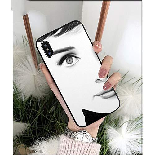 NJSdd Audrey Hepburn schwarz TPU weiche Silikon-Telefon-Kasten-Abdeckung für iPhone 8 7 6 6S Plus 5 5S SE XR X XS MAX Coque Shell, A5, für iPhone 8