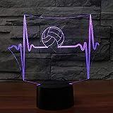 Led Electrocardiograma Luz Nocturna Interruptor Táctil Usb Volleyball Lámpara De Escritorio 7 Cambio De Color Oficina Decoración Para El Hogar Luz Del Sueño Para Regalos 3D