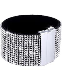 Morella Damen Glitzerarmband breit verziert mit Zirkoniasteinen und Magnetverschluss
