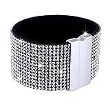 Morella Damen Glitzerarmband breit verziert mit Zirkoniasteinen und Magnetverschluss weiß