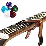 HO2NLE Cejilla Guitarra Capo para Guitarra con 5 Placas de Plástico para Guitarra Acústica Clásica Electrica Violin Ukelele Bajo Color madera