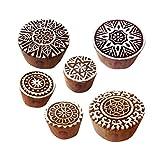 Royal Kraft Lehm Holzdruck Städtisch Runden Blumen Designs Blöcke Stempel (Set von 6)