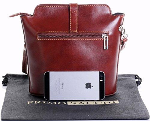 Fatta piccola croce corpo o borsa a tracolla borsa a mano pelle liscia italiana.Include una custodia protettiva marca Mid Brown