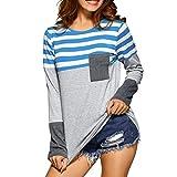 ESAILQ Damen Basic Longshirt Oberteil T-Shirt Top(L,Blau)