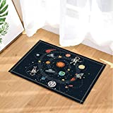 LUIXJGEDF Tapfere Astronauten fliegen in Cartoon-Universum Kids Education Badteppiche für Badezimmer, Rutschfeste Bodeneingänge Outdoor Indoor Haustürmatte, 40x60cm Badematte schwarz