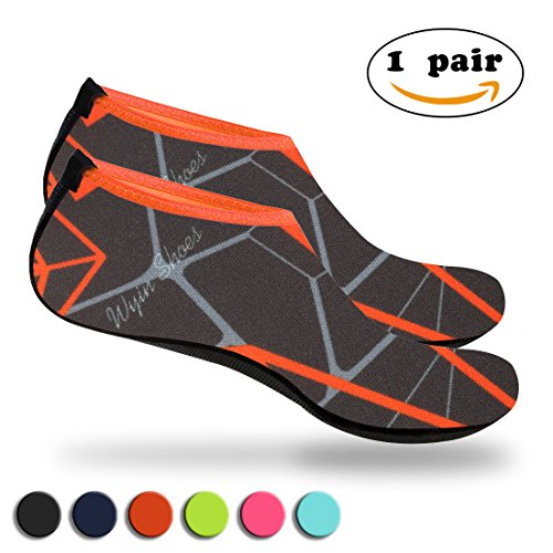 Nlife Barefoot Water Shoes Aqua Socks Sand Socks For Beach Surf Pool Swim Yoga Aerobics (Men & Women, M - XXXL) (Orange 2, M)