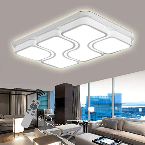 LED Modern Deckenlampe Deckenleuchte Quadrat Energiespar Wohnzimmer Schlafzimmer Korridor Acryl-Schirm Rahmen Flur Lampe Schlafzimmer Küche Durchbohrte Wandleucht (Weiß-100W Dimmbar) -