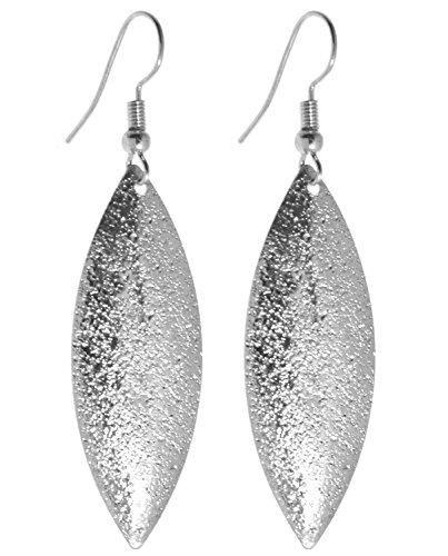 2LIVEfor Lange Ohrringe Silber schlicht modern Tropfen Muster Ohrringe lang Hängend Groß schlicht Blatt Ohrringe Vintage Ohrringe Blätter tropfenform
