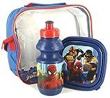 Marvel - Ultimate Spider-Man - Frühstück / Pausen / Kindergarten Set - Tasche mit Brotdose & Trinkflasche , mit Schulter- & Tragegriff + 12 Aufkleber
