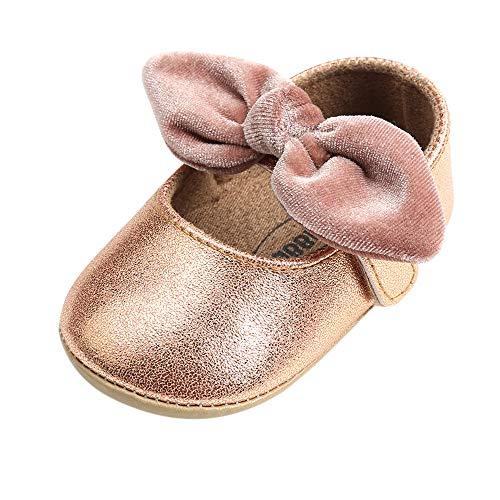 (LACOFIA Baby Mädchen Ballerina Kleinkind Bowknot Prinzessin Schuhe Baby Rutschfeste Krabbelschuhe Gold 12-18 Monate)