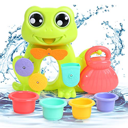 BeebeeRun Baby Frog Bath Toy Fountain Water Shower Bath Toys with 4pcs Water Stacking Cups Game Water Play Set for Kids Toddlers