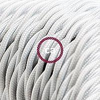 Cavo Elettrico trecciato rivestito in tessuto effetto Seta Tinta Unita Bianco TM01 - 10 Metri, 3x0.75