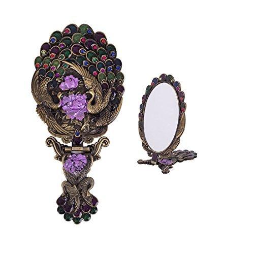 Moiom Vintage Stil Metall Faltbar Oval Pfau Blume Muster Make-up Hand/Tisch Spiegel, Metall, Bronze, 8.3