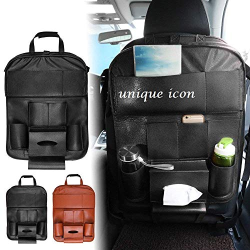 UNIQUE ICON Leather Organizer for The Back seat Folding Dinner Posture Back Handing Bag(Brown & Black)