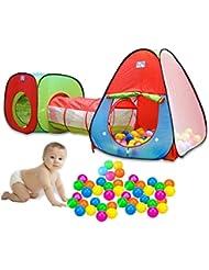 YANX® Childrens Kinderzelt Innen- oder Außen Pop-Up-Spiel-Zelt und Tunnel Set - In Rot / Blau / Grün