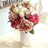 Gaddrt Seta Artificiale Fiori Finti peonia Floreale Wedding Bouquet da Sposa Ortensia Decor E