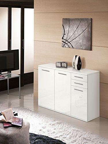 Meuble Moderne en Bois, 3 Portes + 2 tiroirs, Laqué Blanc, 120x36 82H
