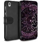 Stuff4 Coque/Etui/Housse Cuir PU Case/Cover pour Sony Xperia E5 / Noir/Violet Design / Henné Paisley Fleur Collection