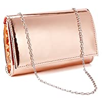 Anladia Small Metallic Patent Women Clutch Designer Ladies Wedding Prom Evening Bags (Rose Gold)