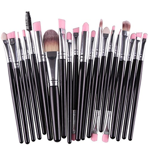 HLHN 20 Pcs Schmink Pinsel Set Brush Set Premium Makeup Brush Set (Schwarz)