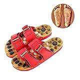 Massaggio Infradito Due Fibbie Pietra Agata Naturale Massaggio Piede Pantofole,Red,XL