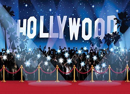 (Hollywood Hintergrund mit roten Teppich und Fotograf Kamera Licht Party Foto Hintergrund Fotografie Studio Requisiten)